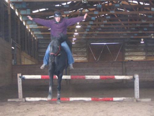 Jumping bareback in a rope halter, winter 2004