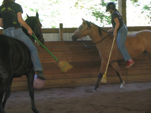 "Playing ""broom polo"" in 2006"