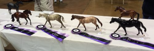Erin's four Quarter Horses winning top tens in their breed class.
