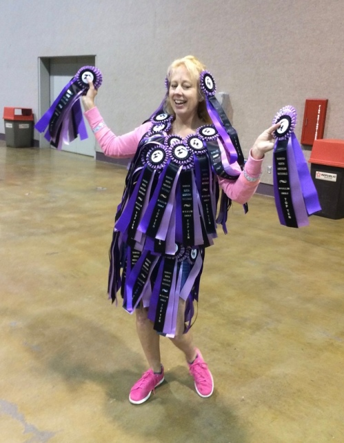 Tiffany wearing all of the rosettes won by Diana in the CM and AR divisions. Diana's stack of plaques was equally as impressive, but not as wearable!